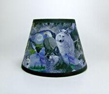 Wolf Wolves Bald Eagle Moon Mountain Scene Blue Fabric Lampshade Lamp Shade