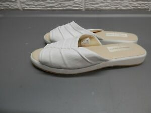 Jacques Levine Slippers White Leather House Shoes Size 7