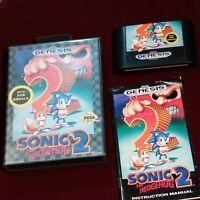 Sonic The Hedgehog 2 Sega Genesis incl. Case, game cartridge, & manual Excellent