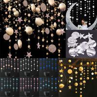 4M Glitter Star Round Banner Garlands Paper Wall Hanging String Christmas Decor