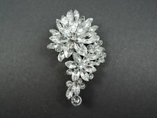 3 INCH LARGE FLOWER ROSE WEDDING RHINESTONE BROOCH