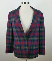 VTG Pendleton Womens Virgin Wool LS One Button Plaid Blazer Jacket 12 USA Made