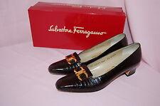 Salvatore Ferragamo Black/Brown NAVARRA Marrone Calf Croc Print Heels~7.5 AAAA