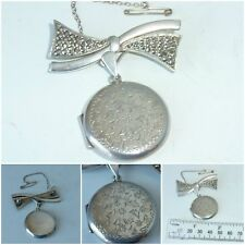 Vintage Sterling Silver Locket Pendant Silver Marcasite Bow Brooch English 1973