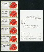 GB 2020 Post & Go Poppy R17YAL New rate collectors strip Zone 1-3 Zone 2