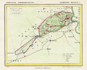 ANTIQUE MAP-NETHERLANDS-BEUGEN-NOORD BRABANT-KUYPER-1865