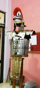 Roman Lorica Segmentata Armor w/ Attached Roman Cingulum Belt & Centurion Helmet