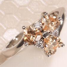 1.1CT Women 925 Silver Yellow Topaz Gemstone Size 7 Wedding Ring Engagement