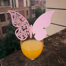 Decorations 10 Pcs/Set Butterfly Place Escort Wine Glass Paper Card New