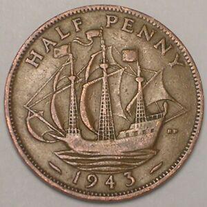 1943 UK Great Britain British Half 1/2 Penny Warship Coin VF