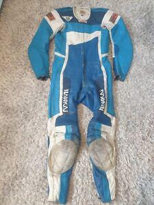 Vintage Nankai 1990s 1 Piece Leather Motorcycle Pro Race Suit in Blue, Size 50.