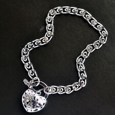 "Exquisite 9K Solid White Gold Filled Bracelet With Heart Locket ""Stamped 9K"""