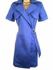 Karen Millen Cotton Work Office Day Trench Shirt Party Wrap Dress UK Size 8 / EU 36 / US 4 DL113 Blue Dark Electric Royal