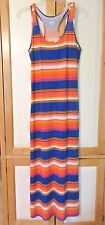 NWOT MOSSIMO MAXI DRESS BLUE WHITE CORAL STRIPED KNIT FULL LENGTH RACER BACK M