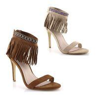 Scarpe Gold & Gold Sandali donna alti estivi spuntati tacco alto con frange MK21