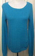 Hollister Women Blue Cotton Sweater Jumper Size S
