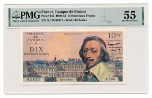 FRANCE banknote 10 Nouveaux Francs 1.2.1962. PMG AU 55 About Uncirculated