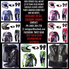 KIDS PEEWEE MX DIRT BIKE FULL HELMET GOGGLE GLOVES JERSEY PANTS BOOTS ARMOUR KIT