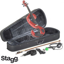 NEW Stagg EVN 4/4 S-Shaped Electric Violin Metallic Red + Case, Rosin, Bow,
