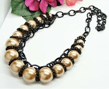 Rockin'! Chunky Black Enamel Chain & Large Mink Round Faux Pearl Beads Necklace!