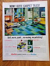 1968 Ozite Carpet Tiles Ad Made with Vectra    Den Rec-room Basement