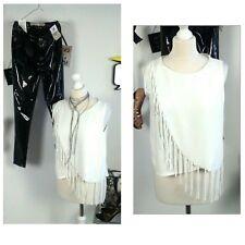 Zara sexy tassel boho hippy top blouse white size 12 14
