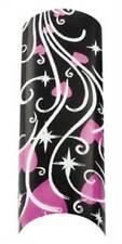 Cala Airbrushed Nail Tips Black & Pink Hearts 87745+Nail Glue+Aviva Nail File