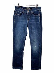 Cambio Norah Women's Distressed Denim Jeans Size 8 Blue Stretch Slim Long Zip