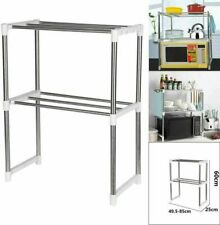 2 Tier Microwave Oven Rack Stand Shelf Stainless Steel Kitchen Storage Organiser