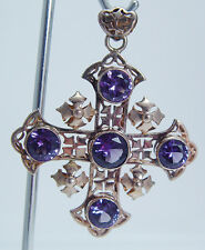 Vintage 14K Pink Gold 7cts Amethyst Large Cross Pendant for Necklace Jewelry