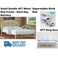 Metal Bed Frame 4ft Small Double Separable 3ft Bunk 4ft6 Double 5ft King Size UK