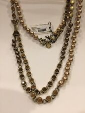 $168 NWT Marc By Marc Jacobs Crystal Bow Double Chain Necklace Brass