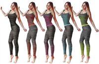 Ladies Vest Top & Legging Gym Wear Set Womens Fitness Workout Sports Clothes