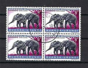 Ruanda Urundi 1960 Sc# 151 Elephant block 4 CTO