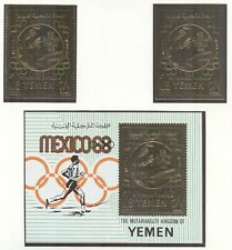 Yemen Kingdom Olympic Games 1968 Mexico  block and 2 stamps mint witnout hinge