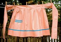 Vintage 60's Peach Polished Cotton w/ Teal Trim Hostess Half Apron
