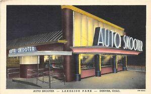 H38/ Denver Colorado Postcard Linen Lakeside Amusement Park Auto Skooter