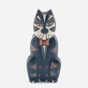 Vintage Hand Painted Folk Art Wooden Wood Black Cat Kitten Pin Brooch