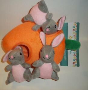 Zippy Burrows Bunny 'N Carrot Interactive Squeaky Hide & Seek Puzzle Dog Toy