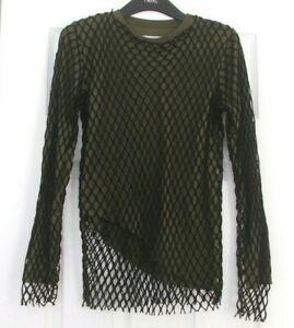 BN Marques Almeida Double Layered Top Khaki Green With Black Macrame UK 8