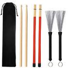 Universal Drum Wire Brushes Wood And Bamboo Drum Sticks Storage Bag N3