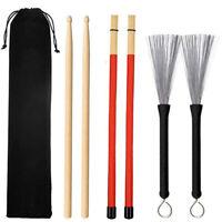 Universal Drum Wire Brushes Wood And Bamboo Drum Sticks Storage Bag Q