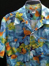 Vtg Hawaiian Cotton Floral Shirt~Med~Collar Loop Stripe Pattern ~Coin Buttons