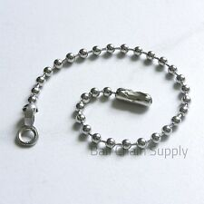 """25 Nickel Plated 6"""" Ball Chain Fan & Lamp Pull w/ End Ring Connectors 3.2mm Bead"""