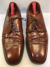 Brass Boot Men 13 M D Cap Toe Oxfords Woven Brown Leather Hand Made Spain