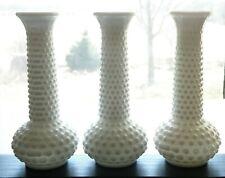 "Set of 3 Vintage E. O. Brody White Milk Glass 7 1/2"" Hobnail Bud Vases M2000"