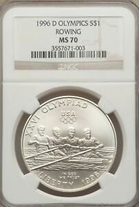 1996-D Olympics Rowing Commemorative Dollar NGC MS-70