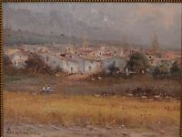 Magnificent European School Oil on Canvas Landscape of Spanish Rural Town