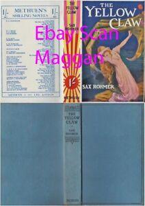 Sax Rohmer  THE YELLOW CLAW  rpt w/ fdj 1935 Methuen