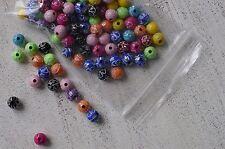 100 bunte Acryl Perlen ca 8 mm strasseffekt orientalisches Muster A1061